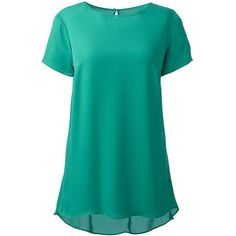 Lands' End Women's Plus Size Flowy Tunic Top ($69) ❤ liked on Polyvore featuring plus size women's fashion, plus size clothing, plus size tops, plus size tunics, shirts, green, green tunic, holiday shirts, evening tops and womens plus tops