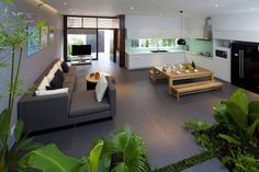 A Fresh Home With Open Living Area & Internal Courtyard Open Kitchen And Living Room, Open Living Area, Open Plan Living, Living Spaces, Room Kitchen, Dining Room, Dining Table, Dining Area, Green Kitchen