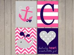 Nautical Nursery Art - Custom nursery art - set of four- Chevron - Chevron Initial - Anchor- Choose colors - Girls nautical on Etsy, $45.00