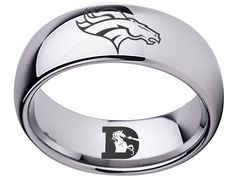 Denver Broncos Ring Silver ring Tungsten Ring, sizes 5 - 16 available. Customize with a special name, date or message on the inside of the band. Denver Broncos Schedule, Broncos Fans, Championship Rings, Tungsten Carbide, Nfl, Silver Rings, Football, Ring Sizes, Disappointed
