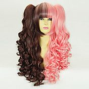 Brown and Pink Curly Pigtails 50cm