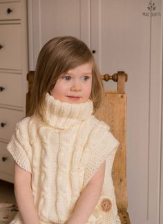 KNITTING PATTERN cable poncho Robyn with a headband toddler