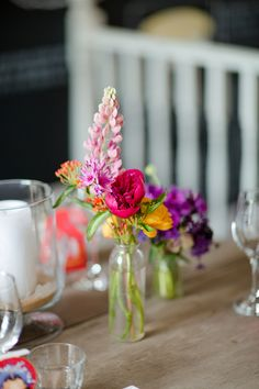Flowers Bottles Vibrant Quirky Colourful Spring London Wedding http://www.ireneyapweddings.com/