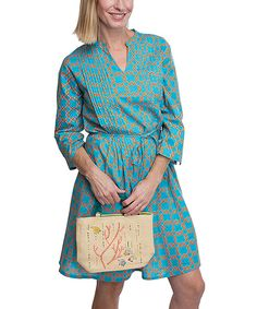 Look at this #zulilyfind! Coral & Turquoise Notch Neck Dress by Top It Off #zulilyfinds