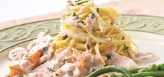 Angel hair pasta, salmon in lemon cream sauce (Sandra Lee)