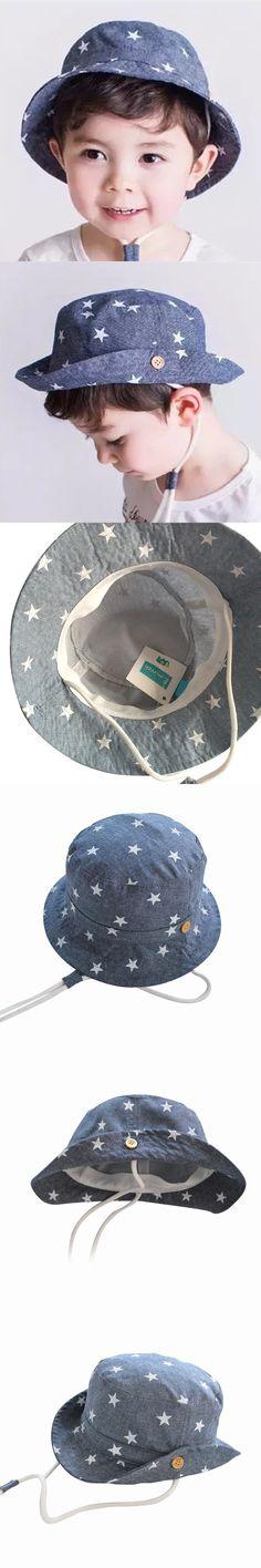 931860a86134b2 Wholesale and retail 1pcs 2016 children bucket Hat children cotton denim  star print visor Hat Summer boys fisherman Hat $6.66