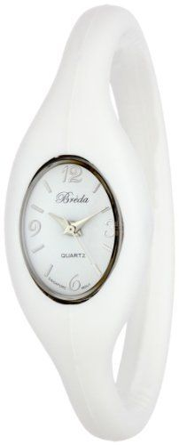 "Breda Women's 2304-white ""Lark"" Sporty Silicone Expansion-Band Watch Breda. $21.00. White dial with silver time markers and silver hour, minute and second hands. White silicone expansion-band. Highest standard Quartz movement. White silicone bezel. Water-resistant - not recommended to take into deep water or shower. Save 30%!"