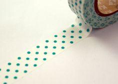 Teal Green Polka Dots Washi Paper Masking Tape-11 Yards. $3.95, via Etsy.