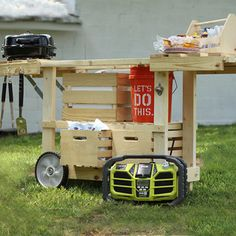Check out this project on RYOBI Nation - We took the RYOBI Nation Party Station and put our Crates & Pallet spin on it!  We've included our own plans below.  Happy building!