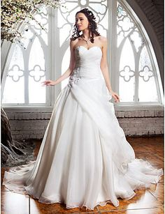 $179.99 -  A-line Wedding Dress - Classic & Timeless Elegant & Luxurious Vintage Inspired Court Train Sweetheart Organza with,Shop for cheap Wedding Dresses online? Buy at Chinathebox.com on sale today!
