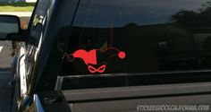 Harley Quinn Mask Vinyl Sticker Decal 6 wide x 2 1/2 Tall    All stickers are 1 color with no borders or background    Colors Available: Black,