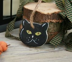 Salt dough cat Halloween hanging ornament by BRsaltycandy on Etsy