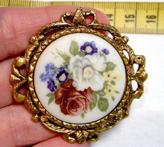 Another new brooch made from the highest quality vintage supplies.  This one is so lovely, with the wreath of leaves.  Brooch  OOAK Large Round Vintage Cabochon by bansheehouseofmake, $25.00