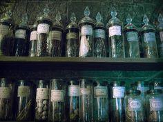 Bottle lined shelves