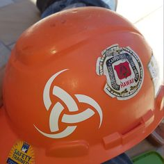 Great idea for my Viking Norse decals! Customer photo of Odin's Horn on a hard hat.
