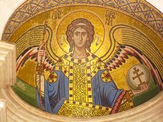 Mosaic of Holy Archangel Gabriel in Ayia Aikaterini Church, Athens, Greece - photos/details at http://cannundrum.blogspot.com/2010/08/eastern-orthodox-church.html