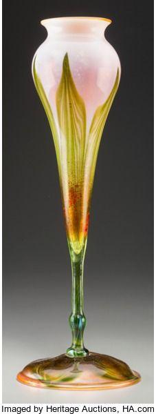 , Tiffany Studios Favrile Glass Floriform Vase. Circa 1904. EngravedL.C.T., V, 7937. Ht. 14-1/8 in. . ...