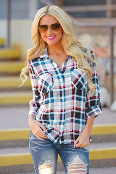 "My Way Or The Highway Plaid Top from Closet Candy Boutique - Promo code ""repashley"" for 10%OFF+FREE shipping!"