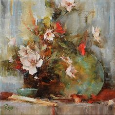 Shelf with Magnolias by Laura Robb Oil ~ 10 x 10 Still Life Sketch, Still Life Drawing, Still Life Art, Fabric Painting, Painting & Drawing, Impressionist Art, Pictures To Paint, Magnolias, Flower Art