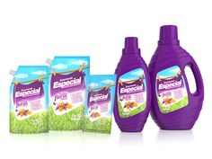 Suavizante Especial ::: Diseño linea de empaques gráfica + estructura = Branding 360 www.grupoimasd.com Eco Friendly Cleaning Products, Household Cleaners, Design Reference, Branding, Packaging Design, Floral, Packing, Bottle, Label