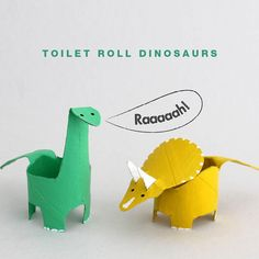 Do you have any dinosaur fans at your place? I have two. In the past the girls and Ihave made dinosaurs frompaper plates, used plastic dinosaurs in messy play and board games, and now we bring you toilet roll dinosaurs! By cutting and folding toilet rolls (or any cardboard tube) you can make a Diplodocus and Triceratops, here's how… You will need: • Cardboard tubes (one toilet roll per dinosaur