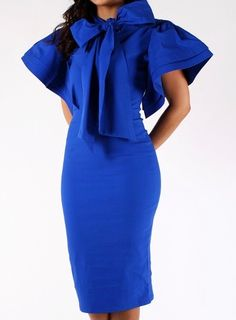 Royal Blue Ruffle Sleeve Dress with Bow..So need this in red