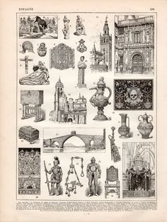 1897 Spanish Architecture Antique Print Vintage Lithograph Illustration Spanish Art Sculpture Ceramics Tapestry Furniture Archaeology Spain