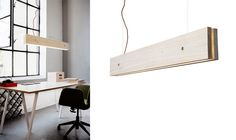 Plank is a light fixture made out of pure, raw wood. The dimmable LED light is placed in between the two main wooden planks. Designer: Frida Ottemo Fröberg & Marie-Louise Gustafsson.
