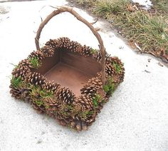 PINE CONE  BaSKET nature wedding natural  woodland Home DECOR. $60.00, via Etsy.