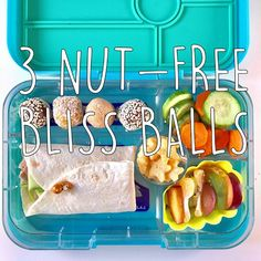 Healthy Meals For Kids Nut Free Bliss Balls - Nut-free bliss balls are the perfect lunch box snack. Packed with nutrients in a treat-size package, kids really go for them. Protein Snacks, Healthy Protein, Healthy Snacks For Kids, Healthy Cooking, Toddler Snacks, Paleo Lunch Box, Nut Free Snacks, Cooking With Kids Easy, Whole Food Recipes