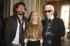 Haider Ackerman, Franca Sozzani and Karl Lagerfeld attend a party celebrating Sozzani being named a Chevalier of the Legion of Honor at the Italian embassy, Legion Of Honour, Vogue, Karl Lagerfeld, Bomber Jacket, Fur, Fancy, Stylish, Celebrities, Hair Styles