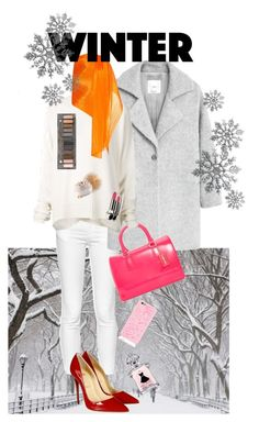"""Color your Winter"" by sanglierspore on Polyvore featuring French Connection, MANGO, Furla, Christian Louboutin, URBAN ZEN, Pleats Please by Issey Miyake, Guerlain, Urban Decay, Winter and bright"