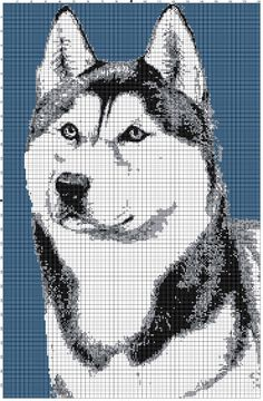 1 of 1: Siberian Husky Afghan Crochet Graph Dog Pattern By Alta's Crafts