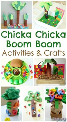 Chicka Chicka Boom Boom Activities, Crafts, and More! chicka chicka boom activities for preschool Preschool Books, Preschool Lessons, Preschool Learning, In Kindergarten, Preschool Activities, Preschool Letters, Learning Letters, Motor Activities, Preschool Classroom