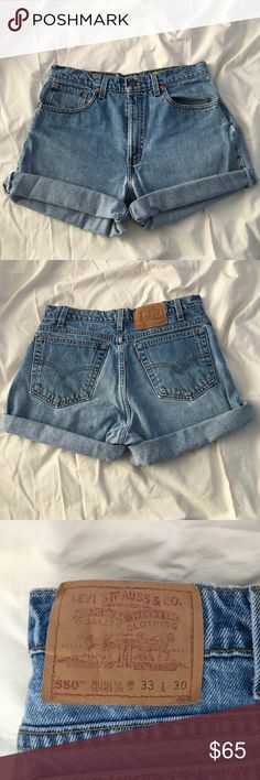 Cut off, rolled up high waisted Levi's shorts Super cute and in perfect condition! These are cut off shorts and have been rolled up. High waisted. Men size 33 W. these would fit a size 29+ waist for women! 🌷 no trades or lowballs please!! 🌺 Levi's Shorts Jean Shorts