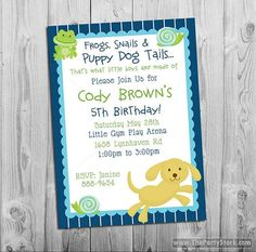 Frogs, Snails and Puppy Dog Tails Birthday Party Invitation, Printable Invite for Boys, DIY Party Decorations Available in this theme on Etsy, $15.00