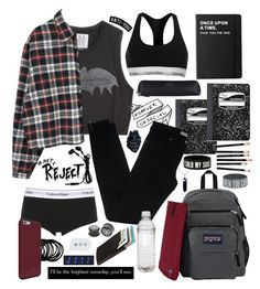 """""""first day of school"""" by falselycathartic ❤ liked on Polyvore featuring Calvin Klein, Calvin Klein Underwear, Mead, Zoe Karssen, Balenciaga, JanSport, Killstar, Smythson, Hot Topic and Bison"""