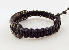 Heren armbanden - Leren heren single wrap armband met Labradorite - Een uniek product van Unycq op DaWanda