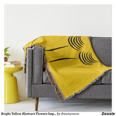 Bright Yellow Abstract Flowers Impression Throw Blanket