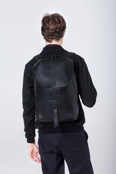 MASA backpack   color: black 100% natural vegetable tanned cow leather, cotton canvas lining, steel hardware  Soon available  on our online store: transparentshopping.com