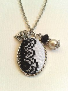 Embroidered  necklace black lace and white. by ConeBomBom on Etsy, $22.00