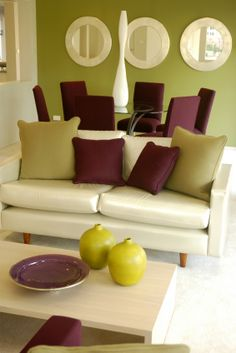 Deep plum can be balanced with olive and yellow green for a fresh modern look.