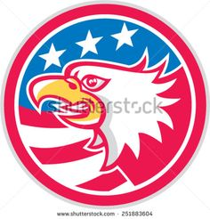 Illustration of an American bald eagle head viewed from the side with American stars and stripes set inside circle done in retro style.
