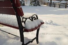 Snow Covered Bench in a Winter Landscape, Color with White Matting (Horizontal Photo) on Etsy, $10.00