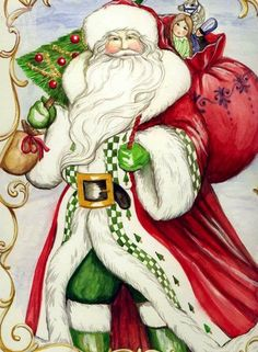 Santa Claus with a Green-Checked Mantle Merry Christmas To You, Father Christmas, Santa Christmas, Christmas Holidays, Christmas Stuff, Christmas Graphics, Christmas Clipart, Christmas Banners, Vintage Christmas Images