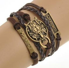 Wolf Leather Bracelet Dream Love. Length: 16cm.Metals Type: Zinc Alloy.Shape\pattern: Wolf.Gender: Unisex.Style: Trendy.Material: Leather.Chain Type: Rope Chain.Length: 16-21cm.