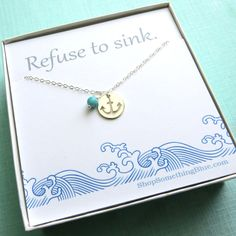 Anchor & Birthstone Necklace in Sterling by ShopSomethingBlue, $38.50
