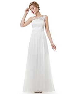 Ever Pretty Womens Sleeveless Illusion Neckline Wedding Gown 08447 at Amazon Women's Clothing store: