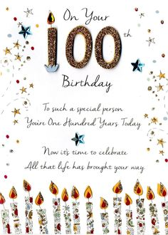 On Your 100th Birthday Greeting Card Old Cards Messages