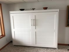 Our customer chose the Bedder Way Horizontal Queen Plank Face Murphy bed in oak painted white with nickel modern pulls. Tall Cabinet Storage, Locker Storage, Murphy Bed, Plank, Armoire, Queen, Gallery, Face, Modern